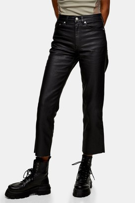 Topshop Womens Black Coated Straight Jeans - Black
