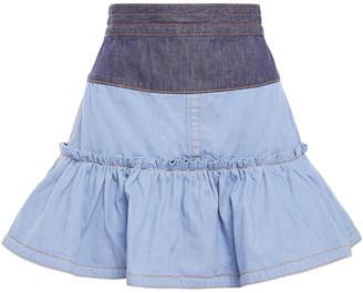 Marc Jacobs Flared Ruffle-trimmed Two-tone Denim Mini Skirt