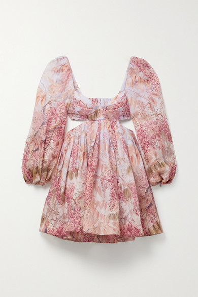 Thumbnail for your product : Zimmermann Wild Botanica Open-back Cutout Floral-print Linen And Silk-blend Mini Dress - Pink