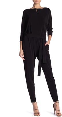 Nina Leonard 3/4 Length Sleeve Waist Tie Jumpsuit