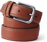 Classic Men's Double Row Stitch Dress Belt-Brown