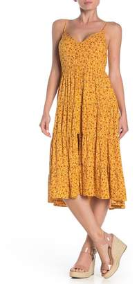 Band of Gypsies Front Button Floral Print Midi Dress