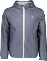 U.S. Polo Assn. China Blue Heather Small Logo Hooded Windbreaker