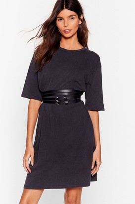 Nasty Gal Womens Double Down Faux Leather Wrap Belt - Black