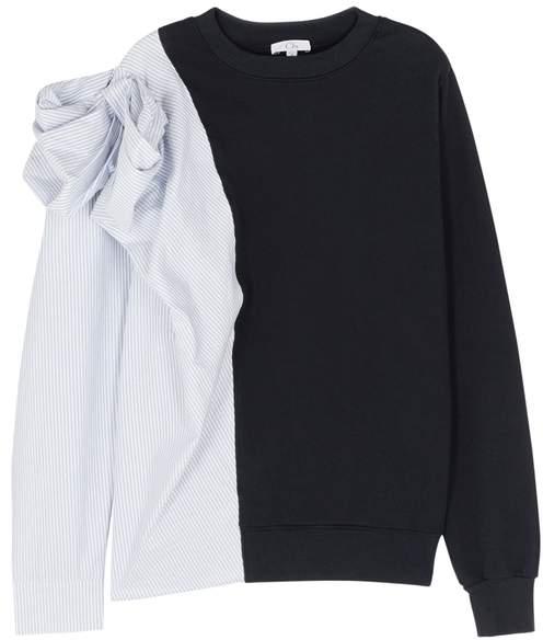 Clu Pinstripe Bow Appliqué Cotton Sweatshirt