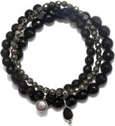 Satya Jewelry Onyx & Pyrite Stretch Bracelet Set