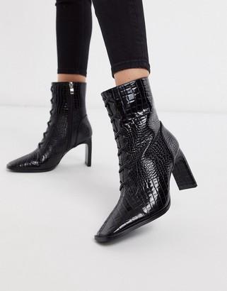 Z Code Z Z_Code_Z Taja vegan lace up heeled ankle boot in black croc