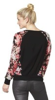 Xhilaration Junior's Zipper Detail Top - Floral