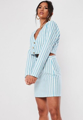 Missguided Blue Stripe Cotton Crop Top Co Ord
