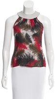 Gianni Versace Feather Print Leather-Trimmed Blouse