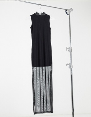 I SAW IT FIRST black mesh sleeveless high neck side split maxi dress in black