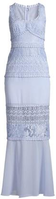 BCBGMAXAZRIA Lace Detail Scoopneck Gown