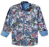 Visconti Paisley Print Jacquard Long-Sleeve Woven Shirt
