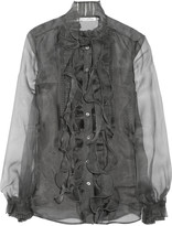 Oscar de la Renta Ruffled silk-organza blouse
