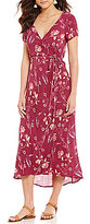Billabong Wrap Me Up Floral-Printed V-Neck Short-Sleeve Wrap Midi Dress