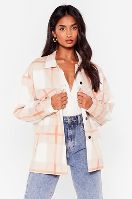 Nasty Gal Womens Bring the Check Please Oversized Shirt Jacket - Green - S