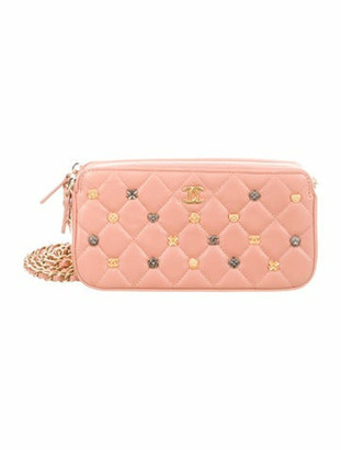 Chanel 2018 Charm on Quilting Double Zip Wallet On Chain Pink