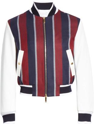 Thom Browne Stripe Wool & Deerskin Leather Bomber Jacket