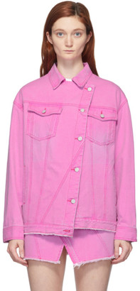 Sjyp Pink Asymmetric Denim Jacket