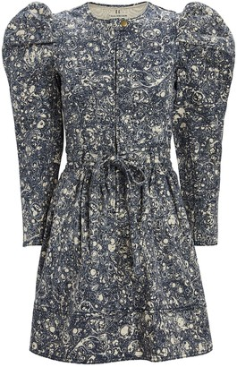 Ulla Johnson Domino Marbled Denim Mini Dress