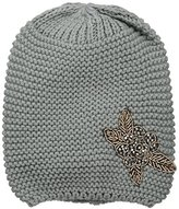 D&Y Women's Solid Knit Slouchy Beanie with Flower Applique