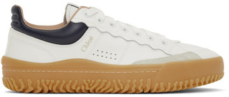 Chloé White and Navy Franckie Sneakers
