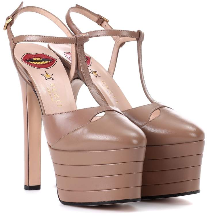 Gucci Angel leather platform pumps