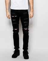 Pull&bear Extreme Rip Skinny Jeans In Black