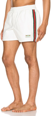 Gucci Waterproof Nylon Swim Shorts With Web in White & Green & Red | FWRD