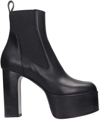 Rick Owens Elastic Kiss High Heels Ankle Boots In Black Leather