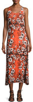 Fuzzi Sleeveless Mixed Reversible Lace-Print Long Dress, Multi