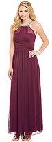 Xtraordinary Beaded-Neck Sheer Matte Jersey Long Dress