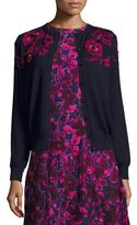 Oscar de la Renta Rose-Embroidered Long-Sleeve Cardigan, Navy/Pink