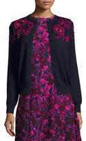 Oscar de la Renta Rose-Embroidered Long-Sleeve Cardigan, Navy/Pink