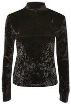 Topshop Velvet zip through sweatshirt