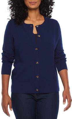 ST. JOHN'S BAY Womens Round Neck Long Sleeve Button Cardigan