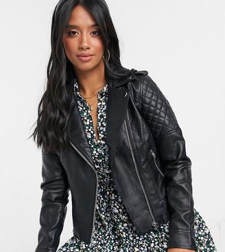Miss Selfridge Petite faux leather jacket in black