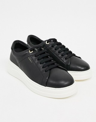 Fiorelli anouk leather lace-up sneakers in black