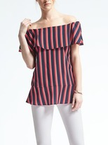 Banana Republic Easy Care Stripe Off-Shoulder Top