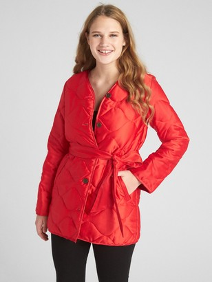 Gap Quilted Tie-Belt Coat in Satin