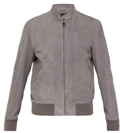 Bottega Veneta Intrecciato Suede Jacket - Mens - Grey