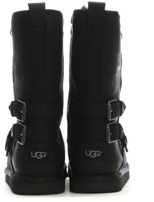 UGG Kids Kalia Black Leather Biker Boots