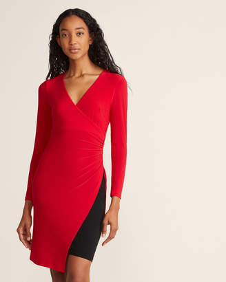 Tommy Hilfiger Long Sleeve V-Neck Faux Wrap Sheath Dress
