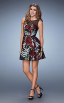 La Femme 23312 Floral Lace Open Back Cocktail Dress