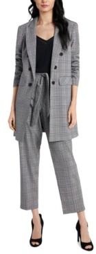 1 STATE Tie-Waist Plaid Pants