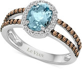 LeVian Le Vian® Chocolatier Aquamarine (1 ct. t.w.) and Diamond (3/8 ct. t.w.) Ring in 14k White Gold