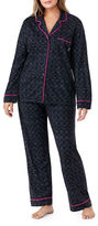 DKNY Plus Contrast Trimmed Top & Pajama Pants Set