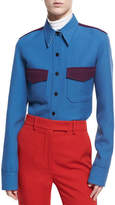 Calvin Klein Wool Twill Western Shirt, Blue