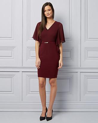 Le Château Flutter Sleeve V-Neck Cocktail Dress