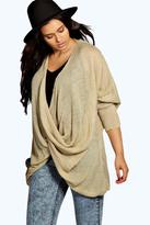 Boohoo Plus Isabelle Wrap Front Knitted Jumper mocha